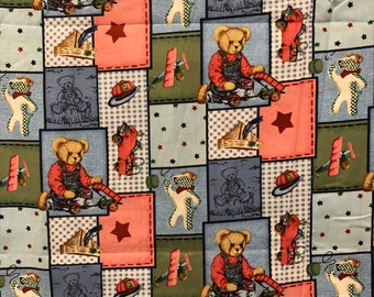 Daisy Kingdom Blue Jean Teddy Bear and Friends Patch - By the Yard - Vintage Reproduction - Out of Print