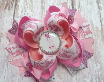 Ballet Ballerina Hair Bow  - Boutique Ballet Hair Accessories  -  Pink Ballet Hair Clip
