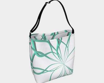 Wild Teal Lines Day Tote Bag