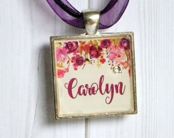 Personalized jewelry - name necklace - OOAK jewelry - name charm - resin pendant - gift for her - birthday jewelry