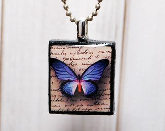 Purple butterfly jewelry - butterfly necklace - nature pendant - gift for her -  Scrabble jewelry - resin jewelry - butterfly wings
