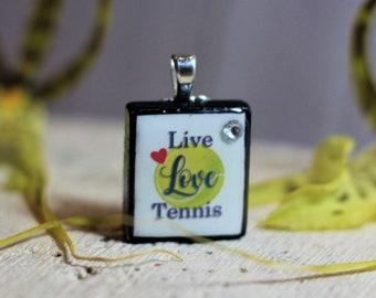 Live, Love, TENNIS Necklace - tennis pendant - sport jewelry - scrabble pendant - tennis charm - Scrabble jewelry