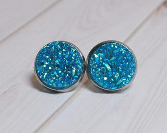 Druzy earrings - blue druzy - druzy stud earrings - druzy earring set - blue earrings - hypoallergenic earrings - stud earrings