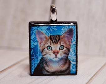 Tiger striped kitty necklace - cat pendant - cat jewelry - Scrabble necklace - gift for her - nature jewelry - animal pendant