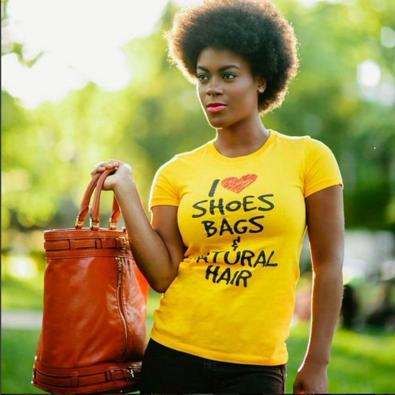 I heart shoes bags & natural hair tshirt
