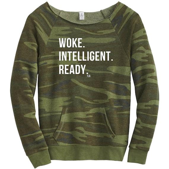 Stay Woke Off Shoulder Camo Sweatshirt