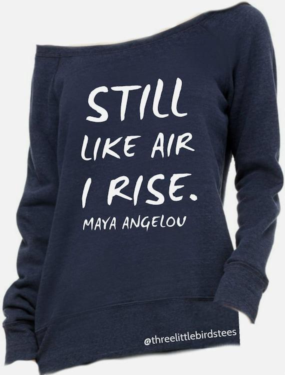 Still Like Air I Rise Maya Angelou Off Shoulder Sweatshirt Navy Blue