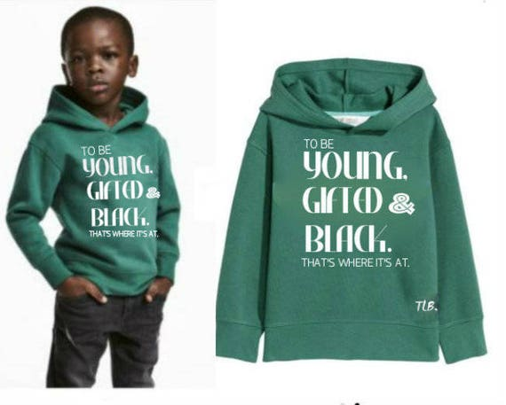 Young Gifted and Black Hoodie Green Black Youth