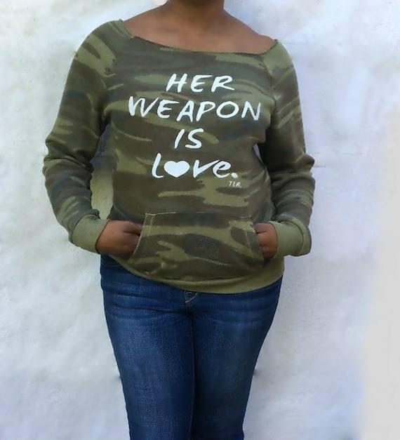 Her Weapon is Love Camouflage Green Sweatshirt