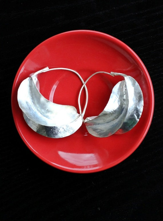 Traditional Fulani Earrings Silver Plated Medium