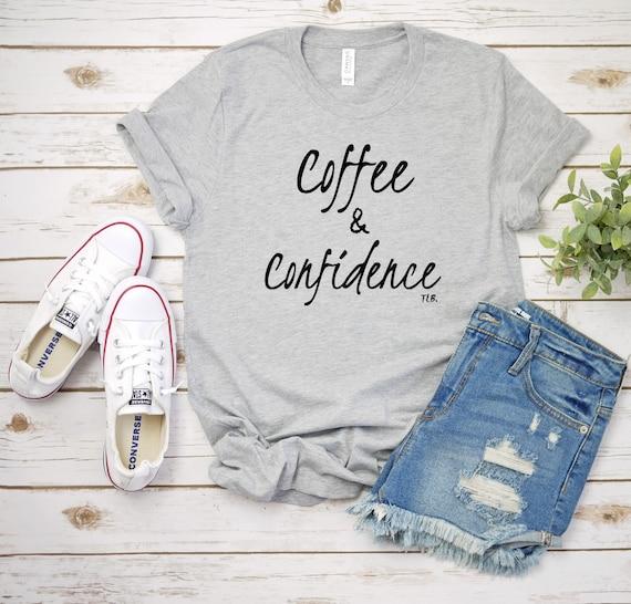 Coffee and Confidence Athletic Heather Grey Ladies Tee