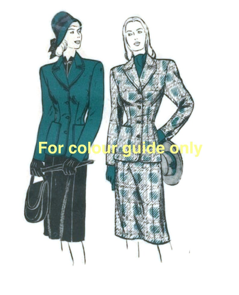 """Vintage 1940/'s Sewing Pattern Women/'s Jacket /& Skirt Suit WWII Bust 37/"""""""