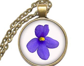 AFRICAN VIOLET Necklace, Flower Necklace, Saintpaulia, Art Pendant Necklace, Glass Pendant, Handmade Jewelry