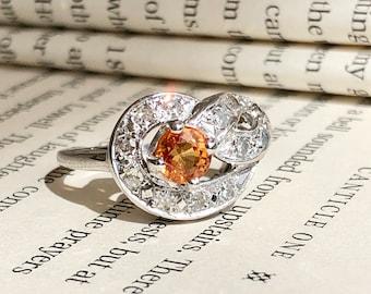 Vintage Orange Sapphire & Diamond White Gold Infinity Style Ring - Size 7.5