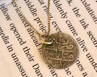 Ancient Ottoman Empire Coin Pendant with 14K YG Bail