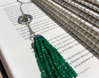OOAK Custom-Made 14K WG Diamond & Emerald Tassel Necklace with appraisal