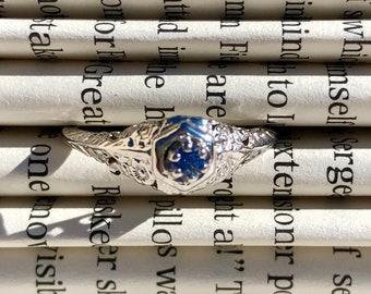 Art Nouveau 14K White Gold & Tiny Tanzanite Engagement Ring - Size 5.5