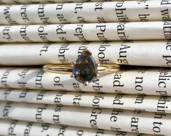 Salt & Pepper Diamond Engagement Ring in 14K Yellow Gold - Size 6.5