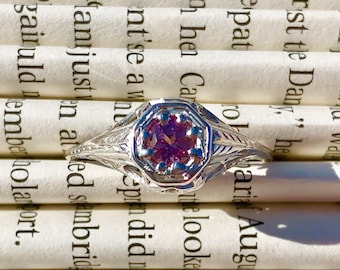 Authentic 18K WG Art Deco & 0.275ct Pink Sapphire Engagement Ring - Size 8.25-8.5