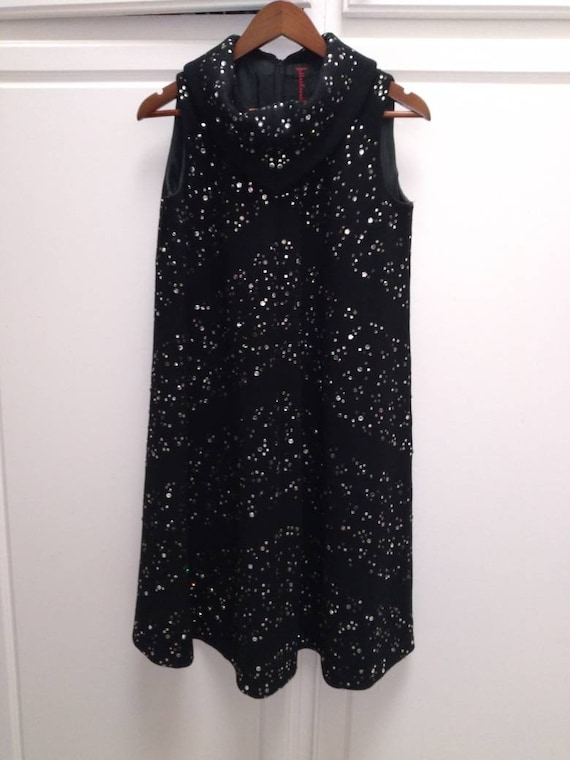 Pauline Trigere 50s mod rhinestone diamond dress