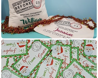 Personalised santa sack and gift labels - pack of 20 stickers - 1 santa sack - name tags - monogrammed christmas tags - made in Australia