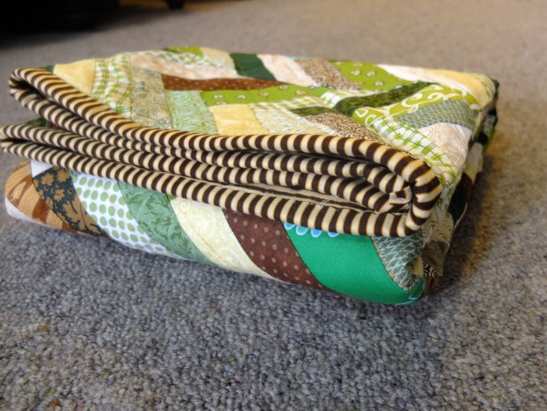 Brown and Green Chevron Panel Baby Quilt image 0
