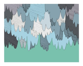 Rain Rain Go Away - Giclee Art Print from ps:hello studio