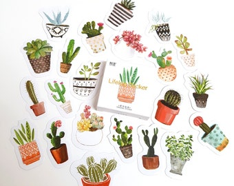 Watercolour Succulent and Cactus Sticker Set