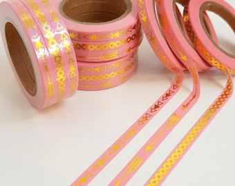 Skinny Pink and Gold Foil Washi Tape Set of Three