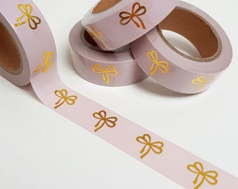 Pastel Pink Bow Washi Tape with Gold Foil