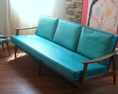VINTAGE DANISH MODERN Sofa Lovely 1950's Mid Century Modern Furniture Lounge Style Solid Wood Teal and Walnut European Made Chicago Listing