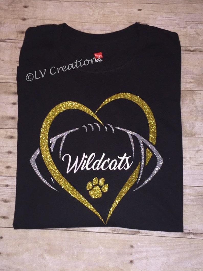 893d519f Personalized Football Heart Team Name Shirt Custom Tshirt Tee | Etsy