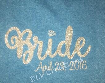 Personalized Bride Tshirt Honeymoon Wedding Tee Date