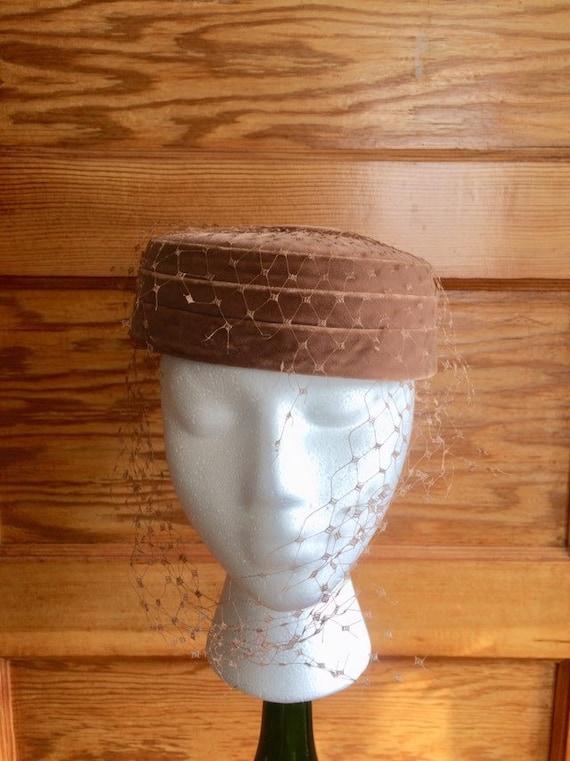 Vintage Brown Velvet Velour Pillbox Hat Cocktail H