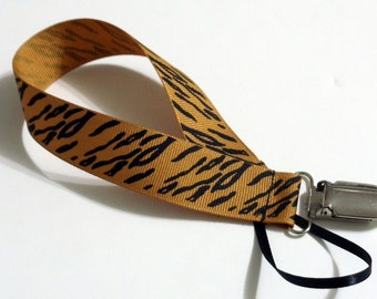 Zebra Tan Ribbon Pacifier Clip Pacifier Holder
