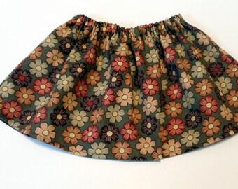 Baby Tutu Fabric Skirt Green Fall Flowers