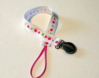 Pacifier Clip Pacifier Holder  Dots Swirls