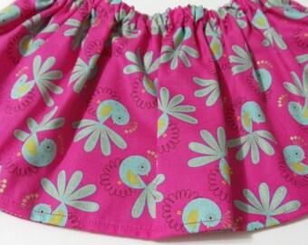 Teal Birds Hot Pink  Baltic  Cotton Fabric BabyTutu  Skirt