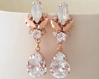 Rose gold earrings,White opal earrings,Crystal earrings,Bridal earrings,Wedding earrings,Bridal earrings,Vintage earring,bridesmaids gift