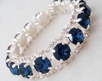 Navy blue bracelet,Navy blue crystal bracelet,Navy Blue bridal bracelet,Navy Blue bridesmaid gift,Tennis bracelet, Swarovski bracelet