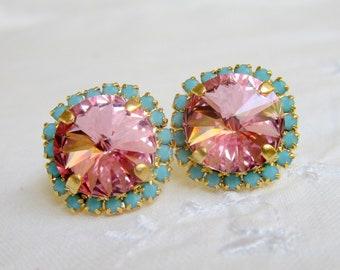 bd2c015c6 Soft Pink and turquoise Swarovski crystal large stud earrings, Bridesmaid  earrings, Crystal pink stud earrings