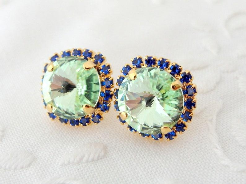 a273c15ed Mint and blue sapphire Swarovski Rhinestone stud earrings | Etsy