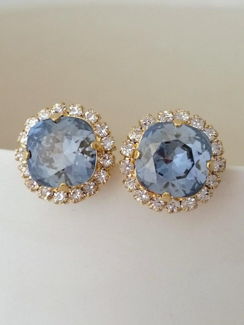 Dusty Blue earringsBlue earringsDusty blue stud image 0