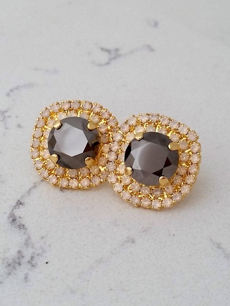 Metalic gray stud earrings,Bridesmaids earrings Gray earrings,White opal earrings,Bridal crystal stud earrings Crystal large stud earrings