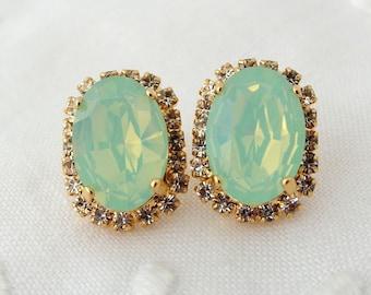 Mint earrings,rose gold mint studs,Opal earrings,Mint bridesmaid gift,Mint bridal earrings,mint oval earrings,Swarovski earrings,gold silver