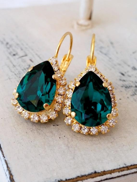Emerald Earrings Emerald Green Earringsswarovski Etsy