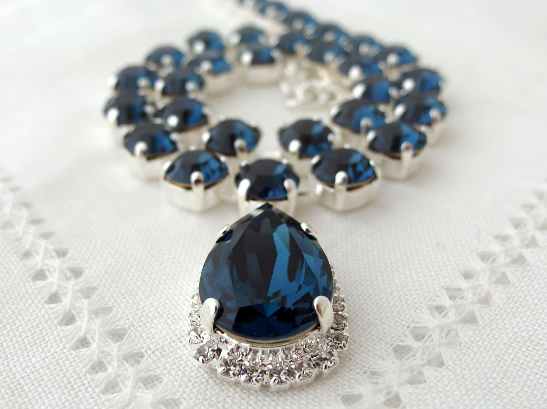Navy blue Swarovski crystal necklace, Sapphire Choker Bridal necklace,  Statement necklace, Bridesmaids gift Tennis necklace,Wedding jewelry