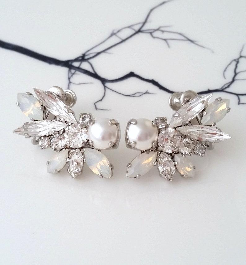 b7d53dc7d22aa Climbing earrings,Ear climber earrings,Pearl bridal earrings,Ear crawlers  earrings,White opal earring,Bridal earring,Pearl Swarovski earring