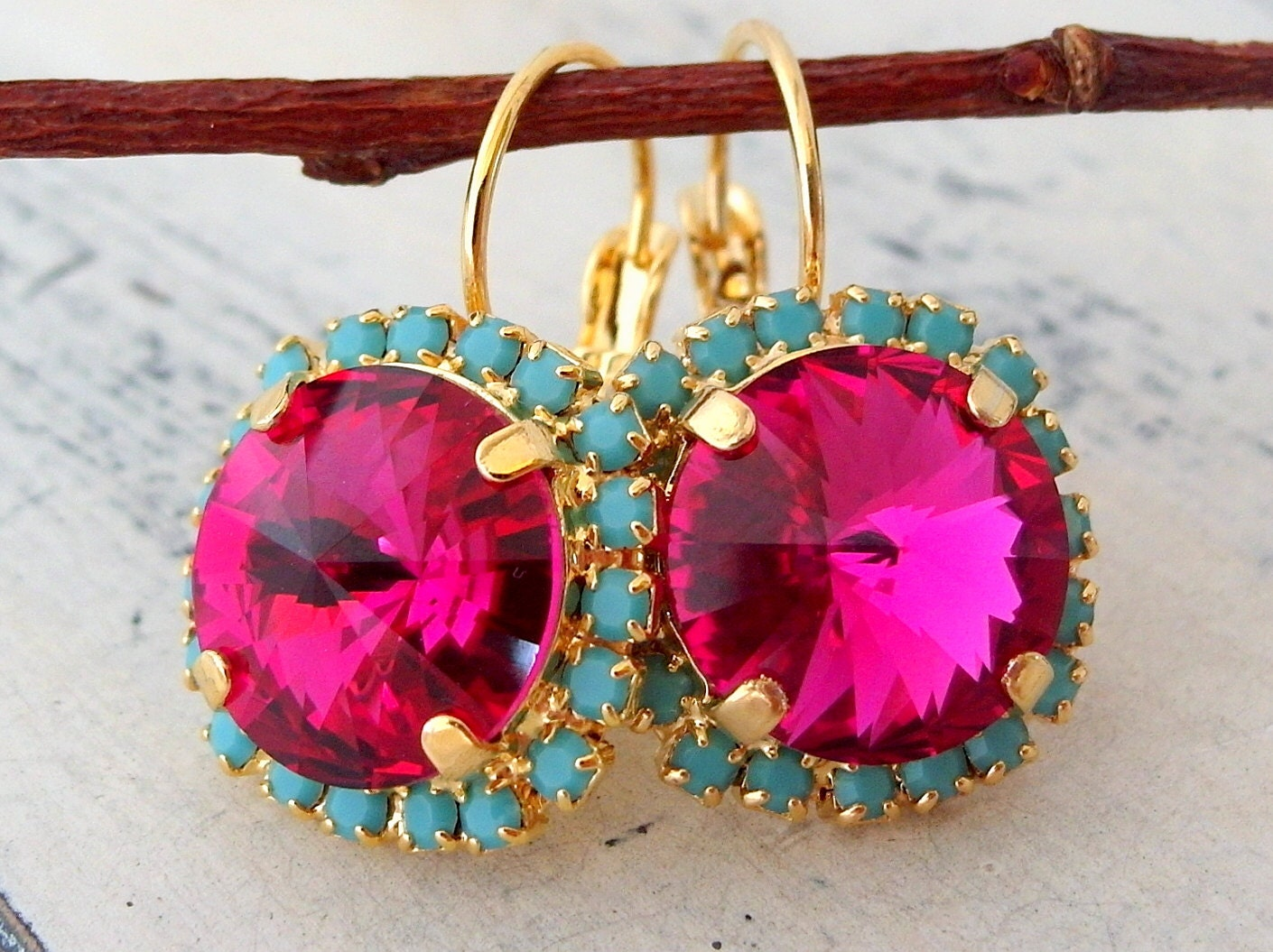 Turquoise Fuchsia Wedding: Hot Pink Fuchsia And Turquoise Crystal Drop Earrings Gold