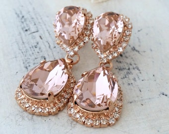 Blush earrings,Morganite earring Rose gold,Chandelier earrings,Bridal earrings,blush pink gold bridal earring,Blush bridesmaids earring,drop